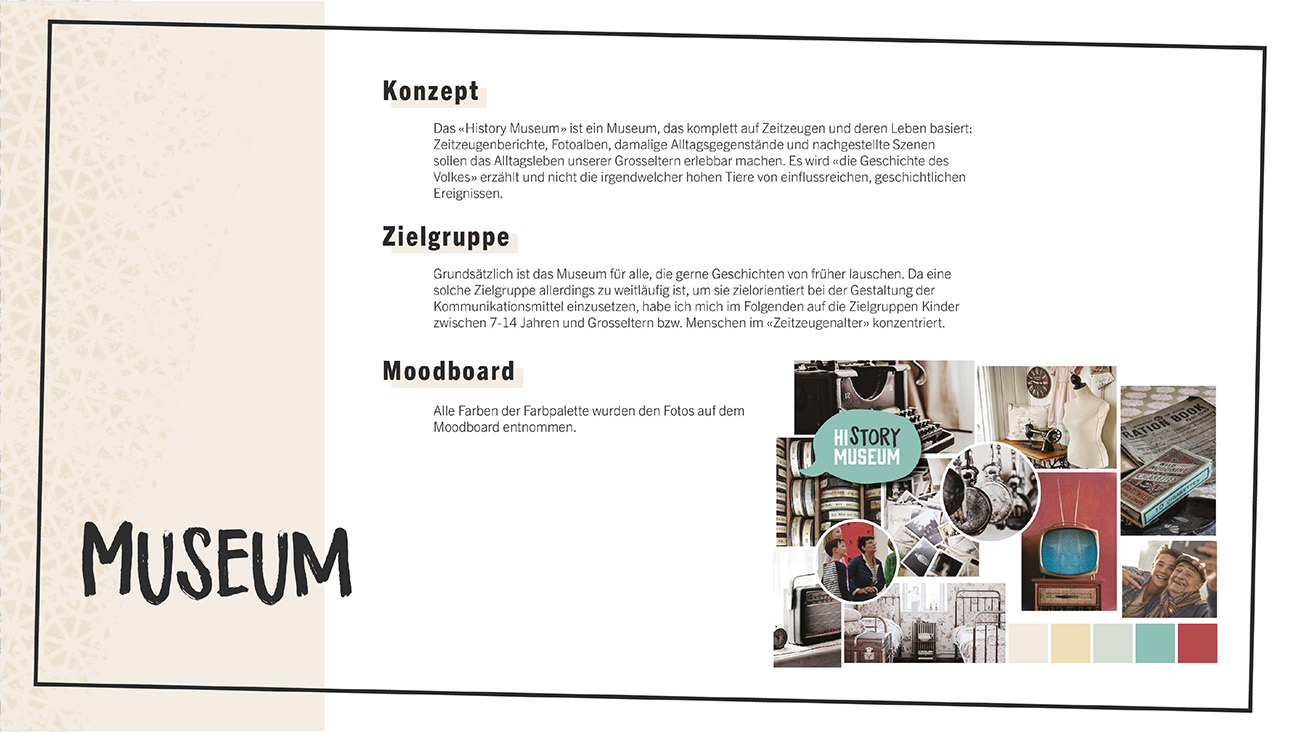 Dokumentation, Seite 2: Konzept, Zielgruppe & Moodboard