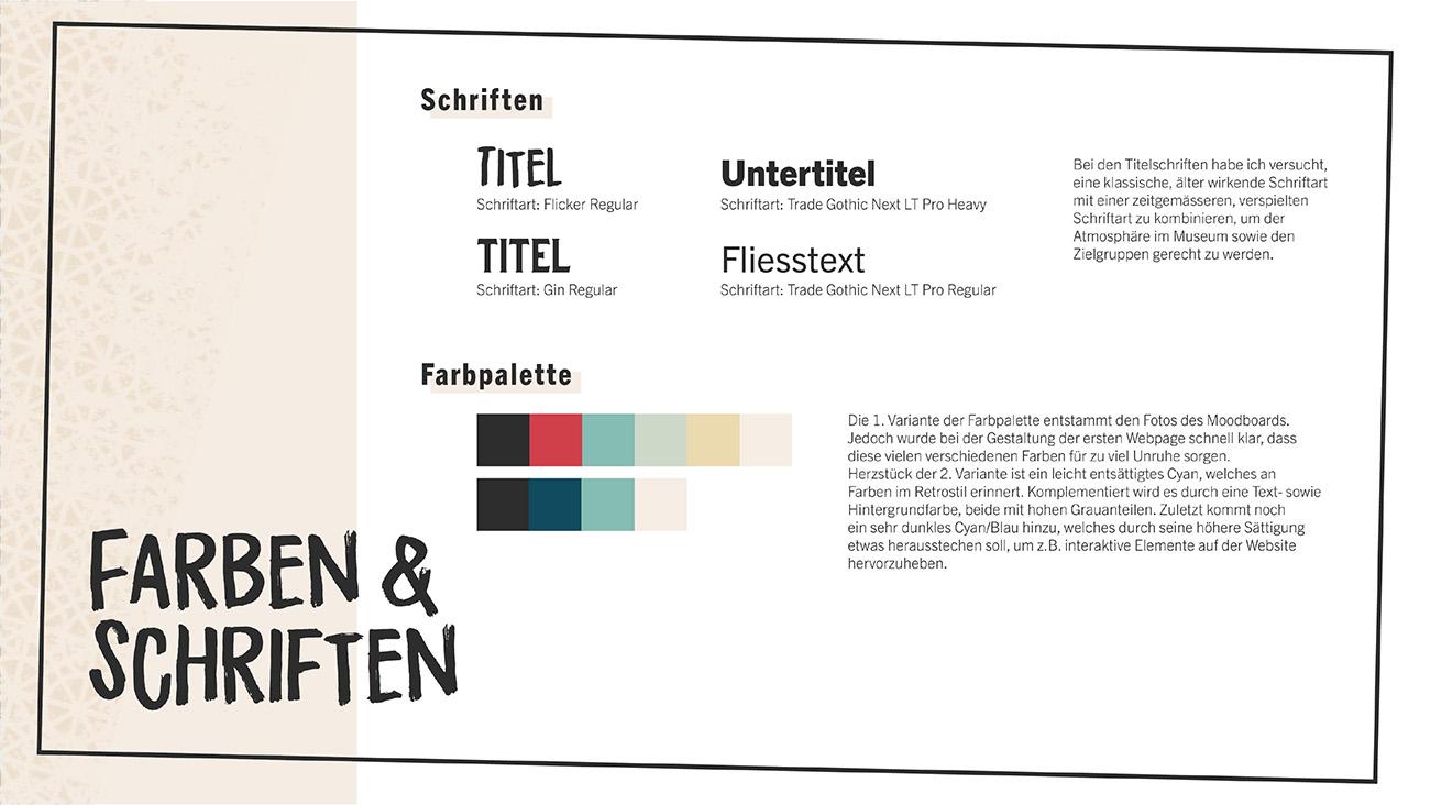 Dokumentation, Seite 4: Farben & Schriften