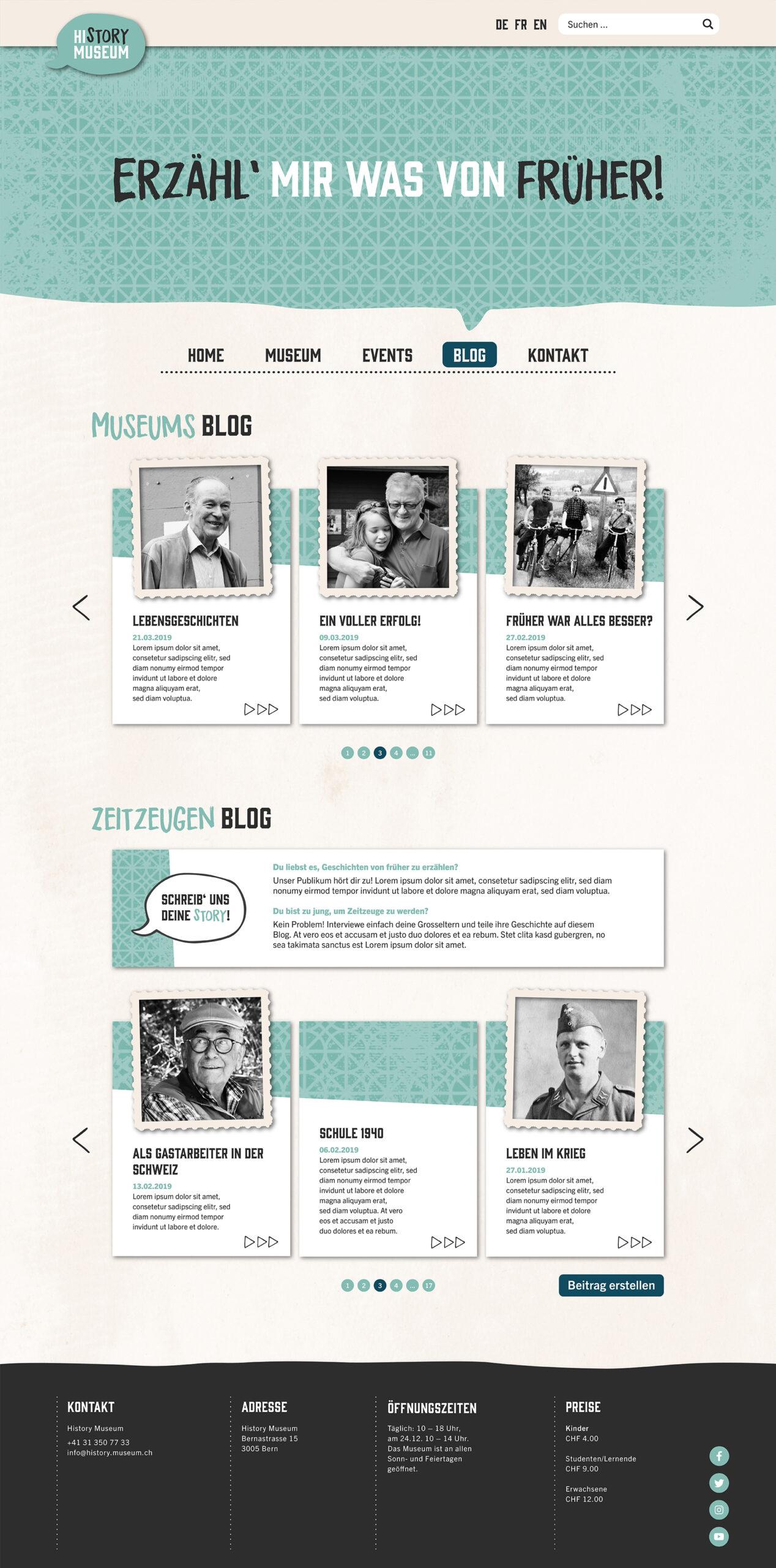 Website Mockup: Blog des History Museums