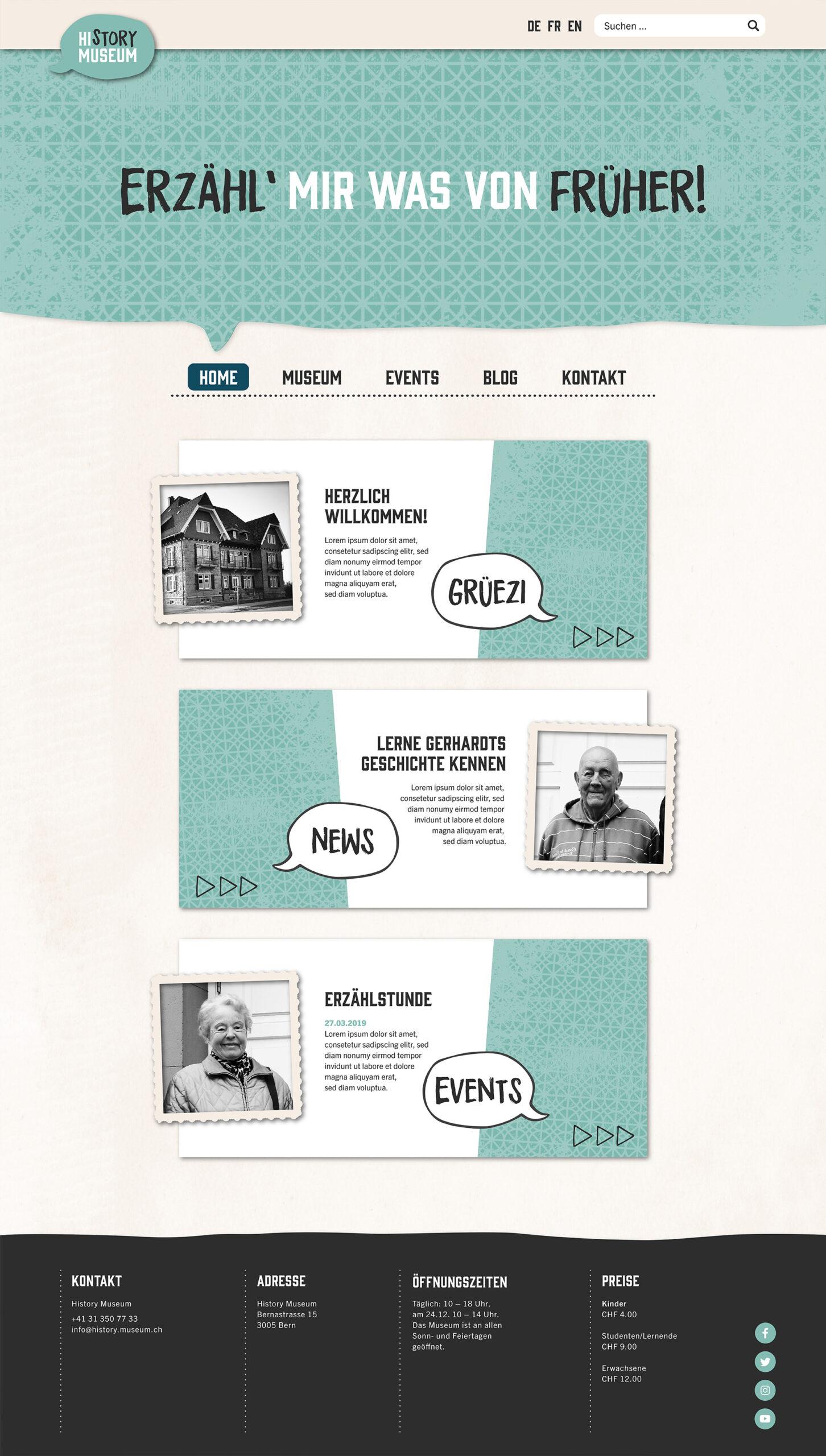 Website Mockup: Startseite des History Museums