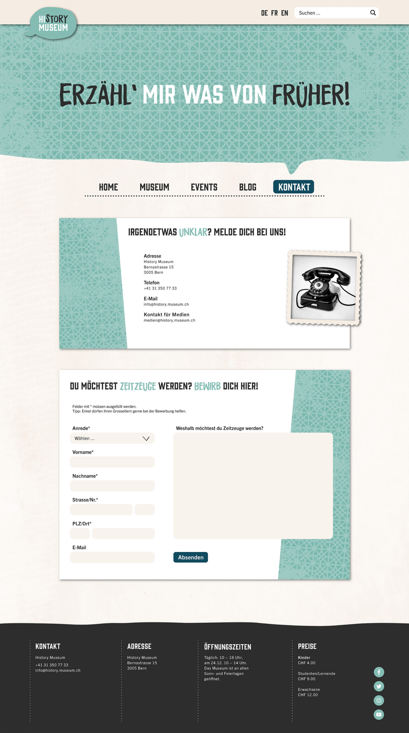 Website Mockup: Kontaktseite des History Museums