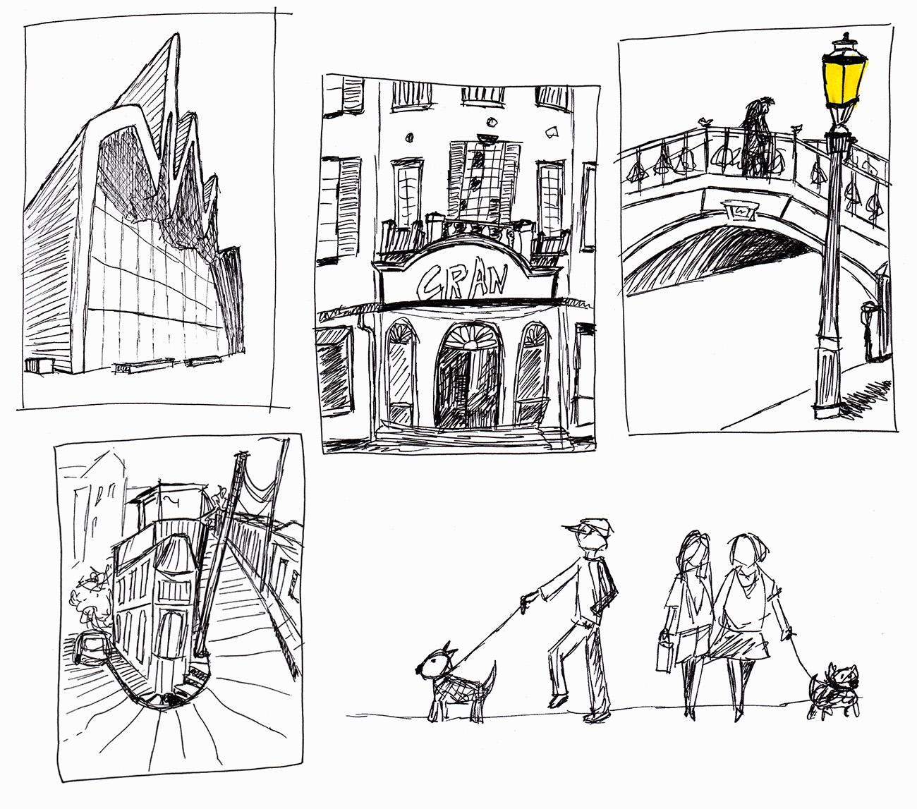 Collage Stadtskizzen