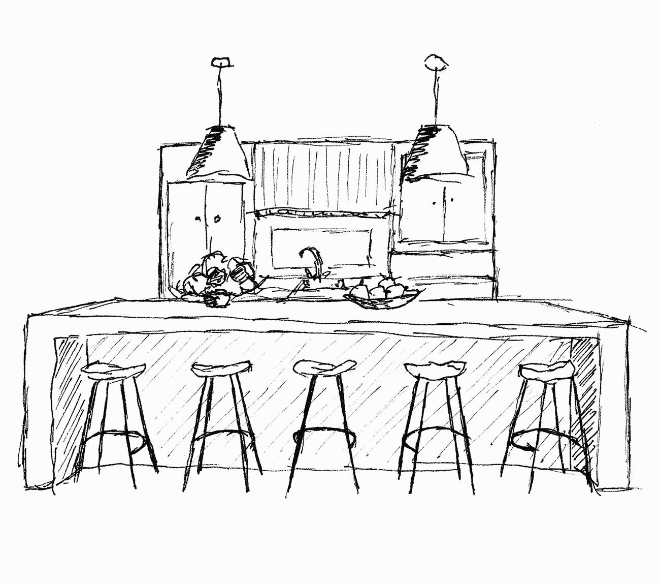 Skizze einer Küche mit Bar