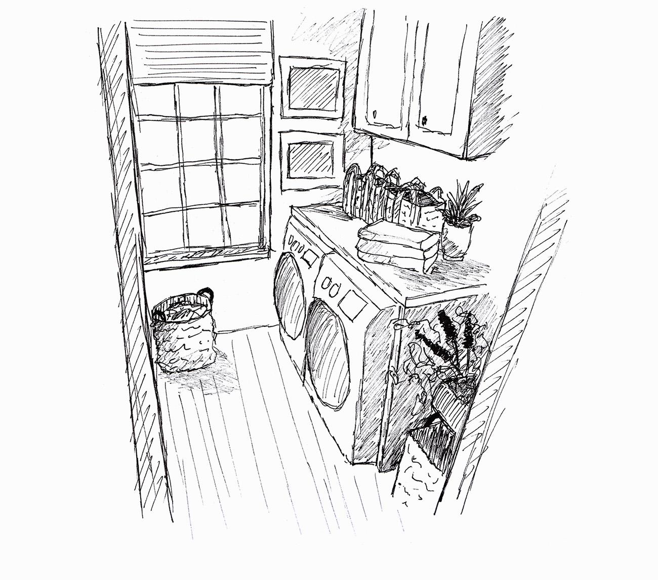 Skizze einer Waschküche