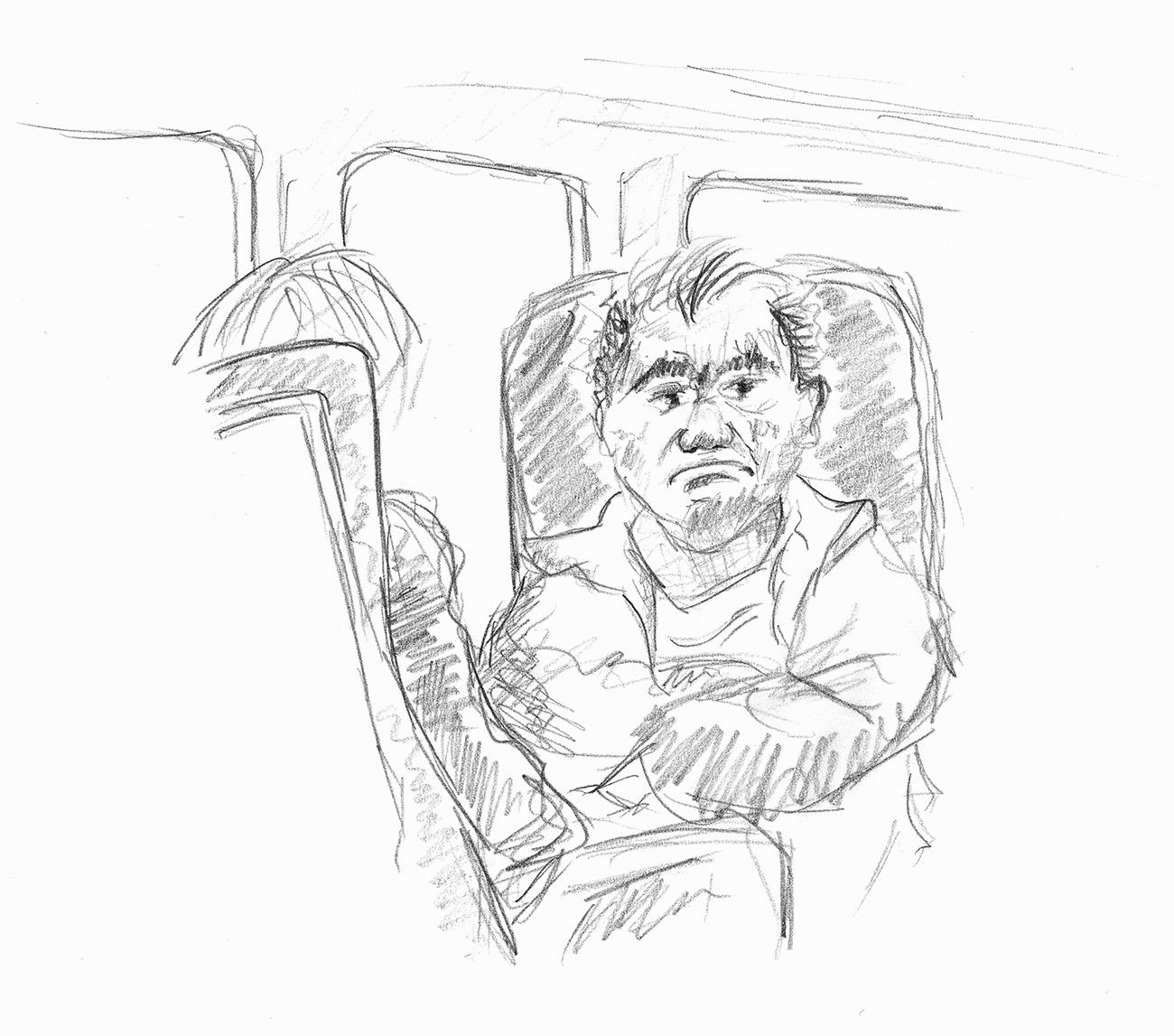 Skizze eines grimmigen Pendlers im Zug