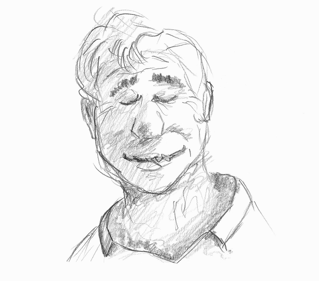 Porträtskizze eines Mannes mit geschlossenen Augen