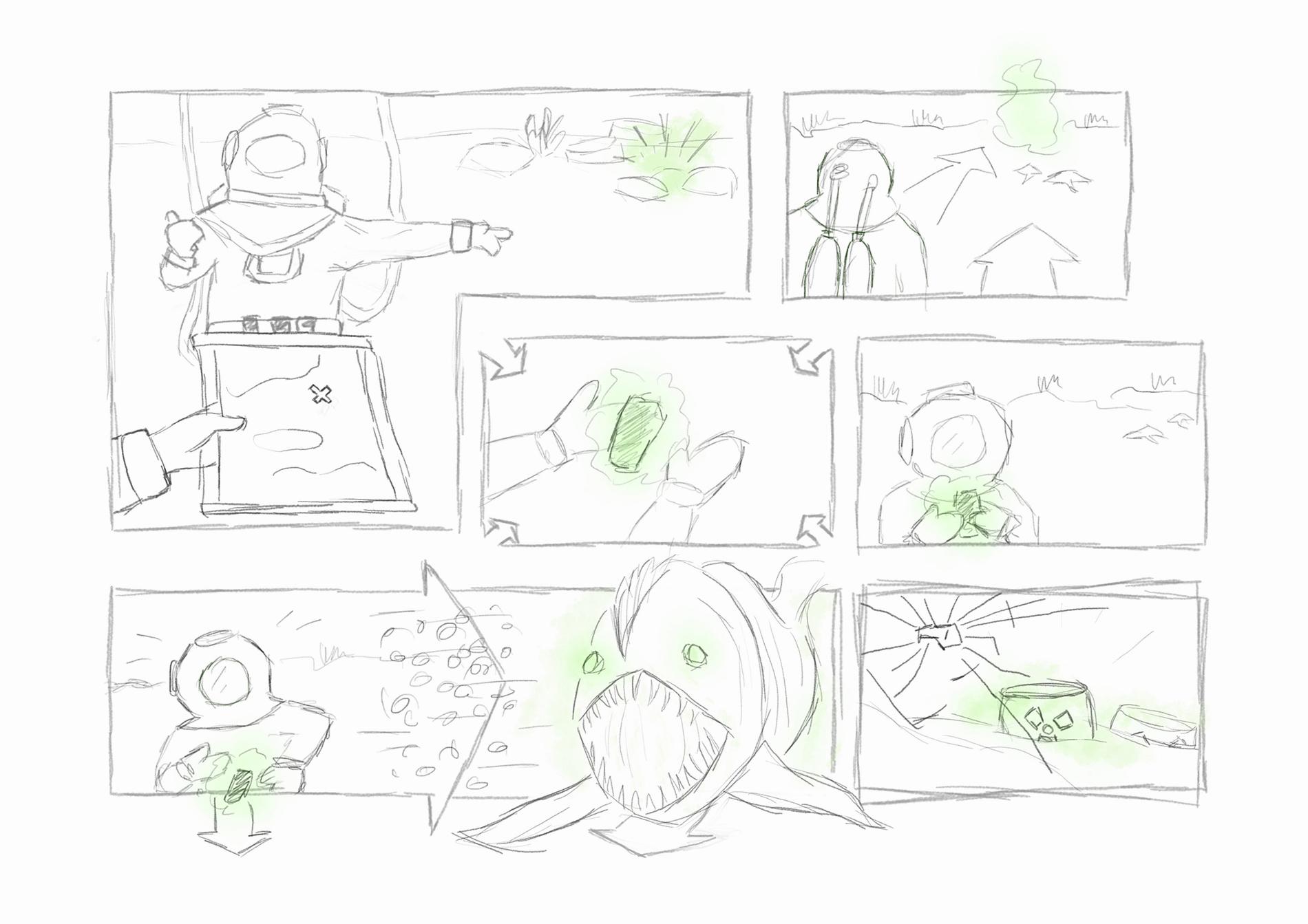Storyboard Fortschritt 0: Thumbnail-Skizzen
