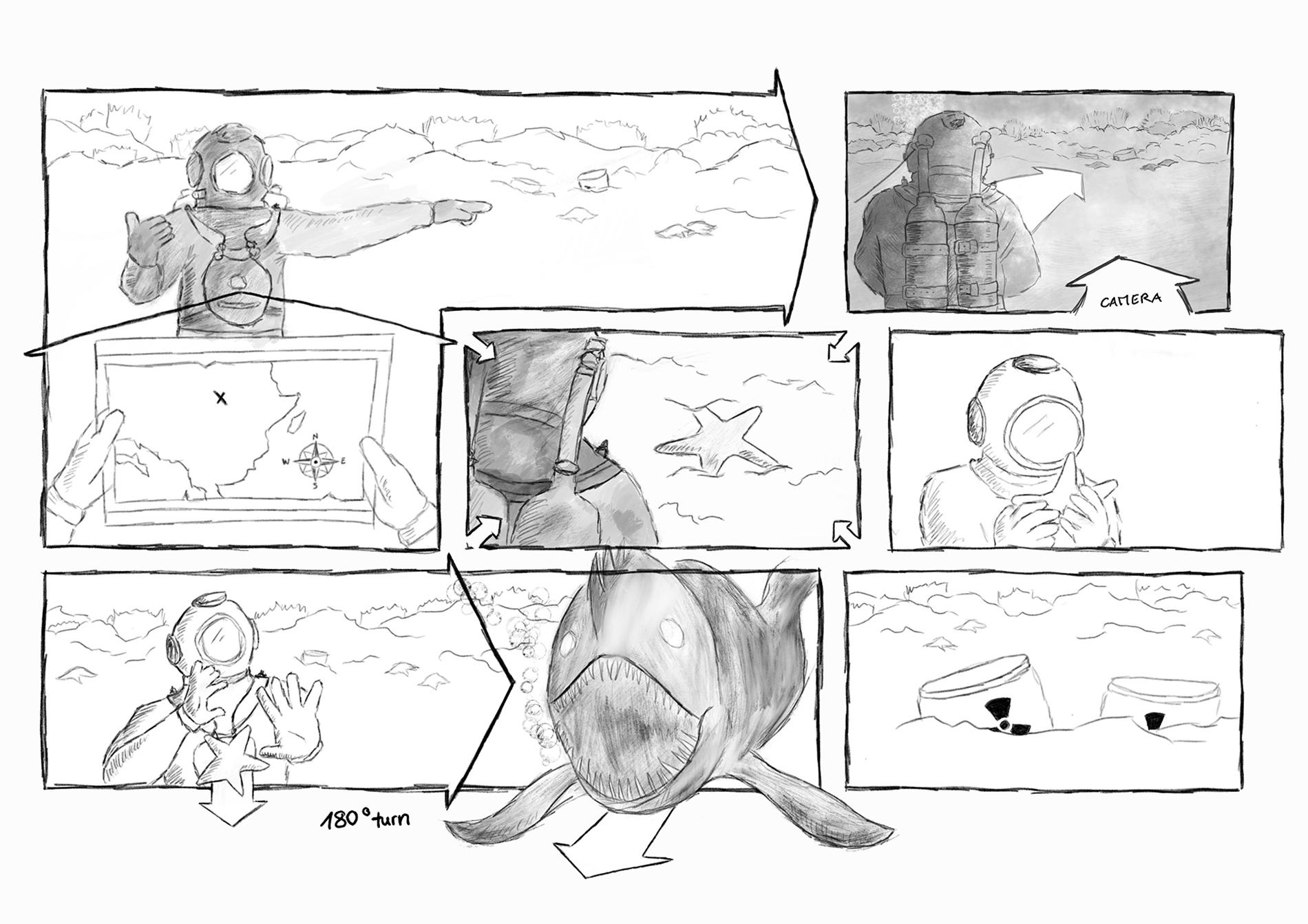 Storyboard Fortschritt 1: Schwarzweiss-Skizze