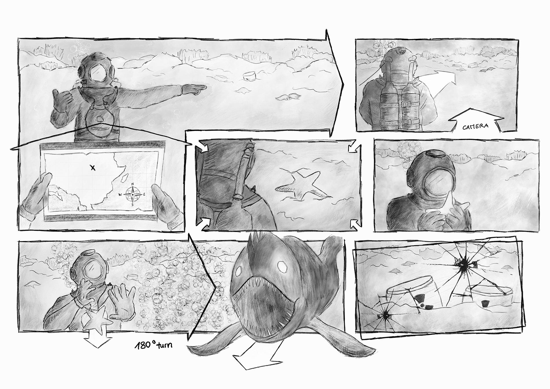 Storyboard Fortschritt 2: Schwarzweiss-Skizze mit mehr Details
