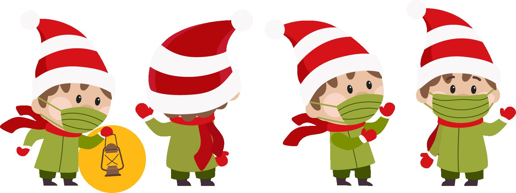 Weihnachtswichtel in verschiedenen Perspektiven