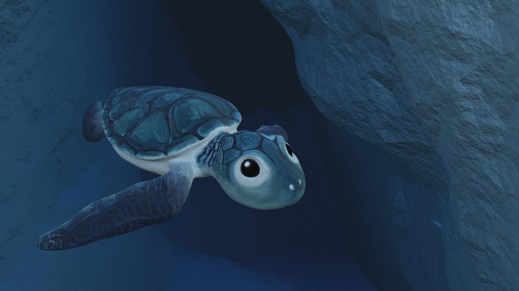 Titelbild: Schwimmende Meeresschildkröte im Ozean